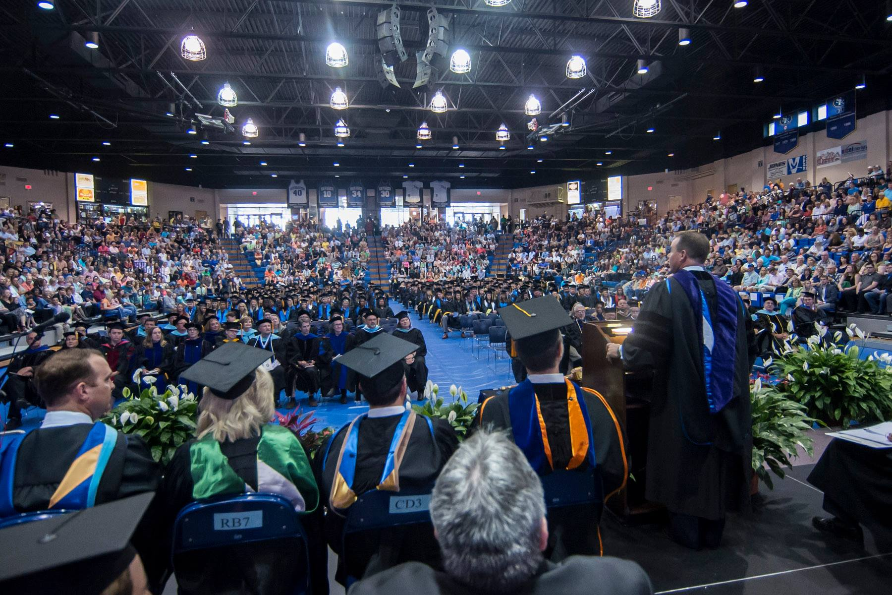 Graduating students and faculty members gathered in the Bloomer Sullivan arena for the Spring 2016 commencement ceremonies. Photo courtesy of Dan Hoke via the Southeastern Oklahoma State Facebook page.