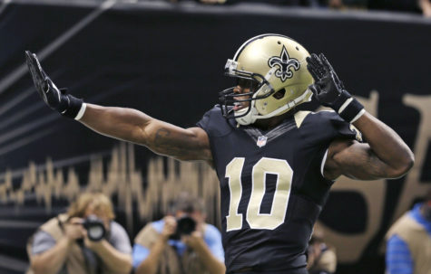 New Orleans Saints wide receiver Brandin Cooks (10) celebrates his touchdown in the first half of an NFL football game against the Green Bay Packers in New Orleans, Sunday, Oct. 26, 2014. (AP Photo/Bill Haber) http://profootballtalk.nbcsports.com/