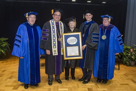 Congratulating Mrs. Jacqueline McEntire on receiving her honorary degree from Southeastern are Regent John Massey, Chair of the Oklahoma State Regents for Higher Education; Southeastern president Sean Burrage; Regent Lake Carpenter, Chair of the Regional University System of Oklahoma Board of Regents; and Chancellor Glen D. Johnson.