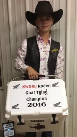 Kylee Bennett was the 2016 NWOSU rodeo goat tying champion.