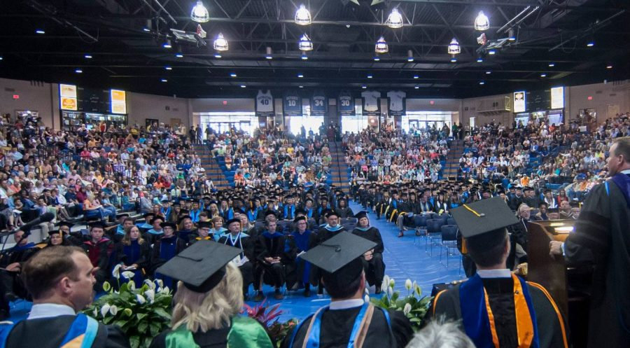 Graduating students and faculty members gathered in the Bloomer Sullivan arena for the Spring 2016 commencement ceremonies.