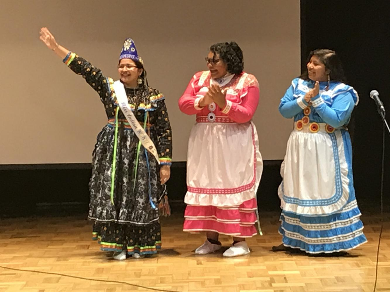 Pageant contestants congratulate Faithlyn Seawright, newly crowned Miss Indian SOSU.