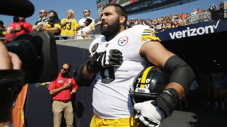 Ex-Army+Ranger%2C+Alejandro+Villanueva+was+the+only+payer+from+the+Steelers+that+came+out+of+the+tunnel+for+the+National+Anthem+Sept.+24.