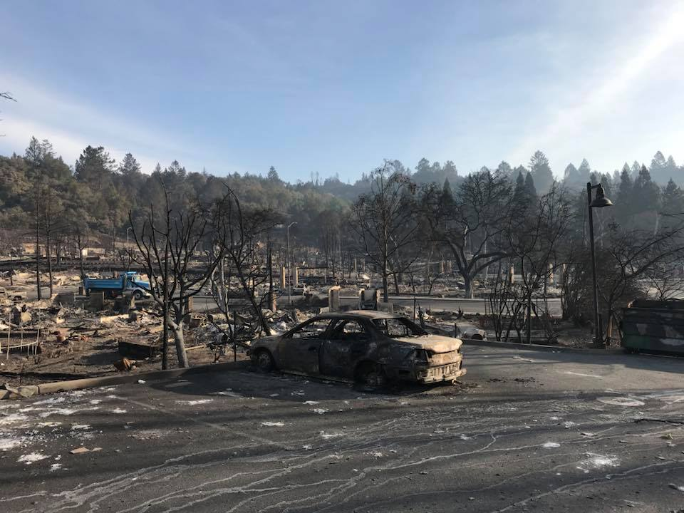 An abandoned car was destroyed gale-force winds of fire in a town near Santa Rosa, California.