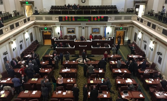 House members watch the vote on HB 1054X on Wednesday, Nov. 8, 2017.