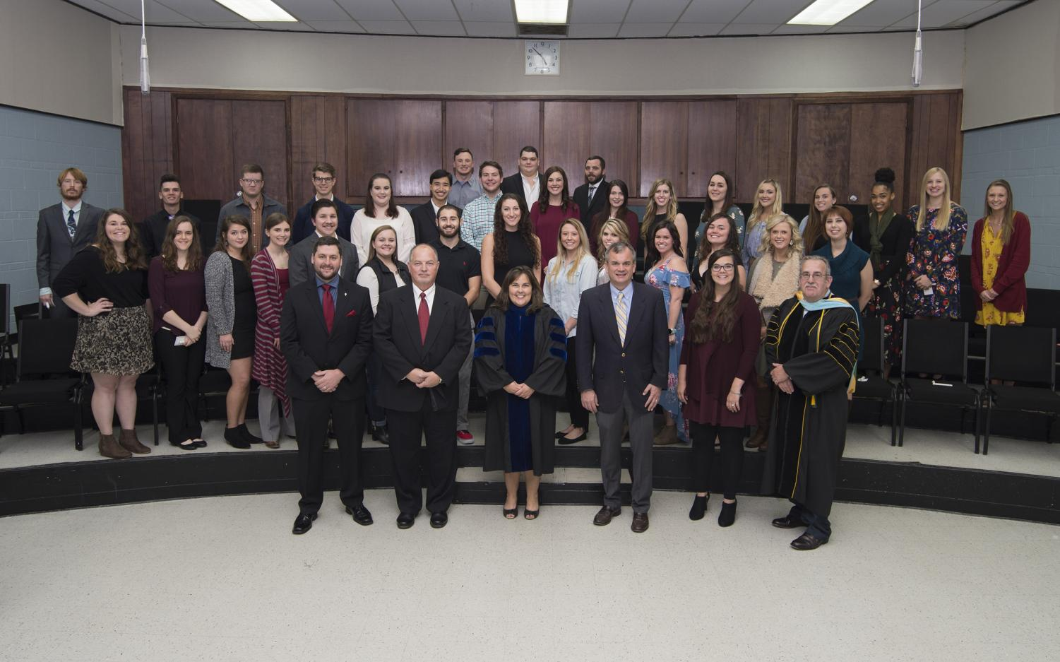 The Alpha Chi inductees were recognized at a recent ceremony.