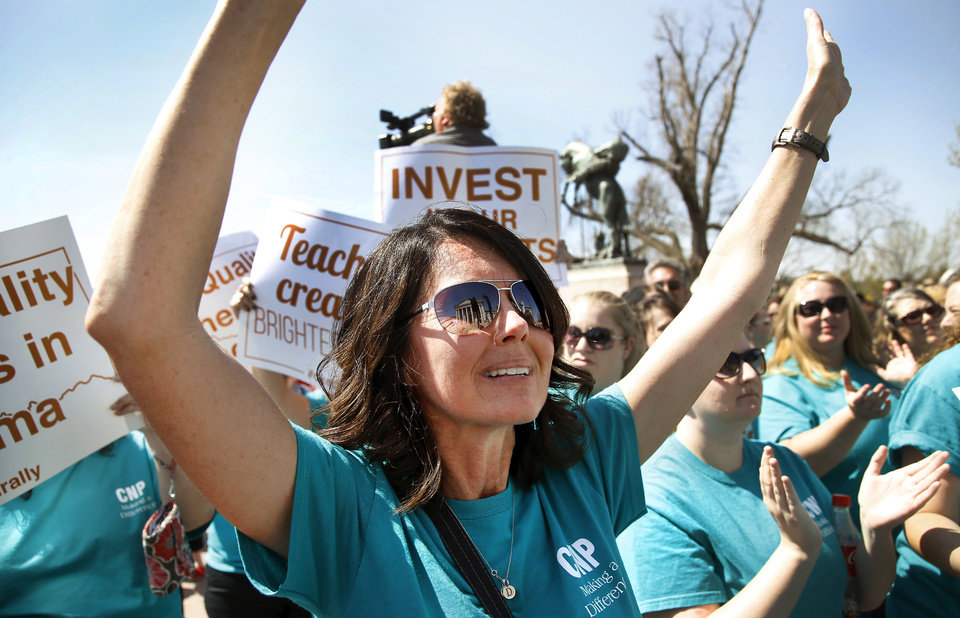 The fight against Oklahoma education officials has been going on for some time. This image of Dorothy Shetley, is from a rally in 2015 that saw over 7,000 educators show up in protest at the state capitol.