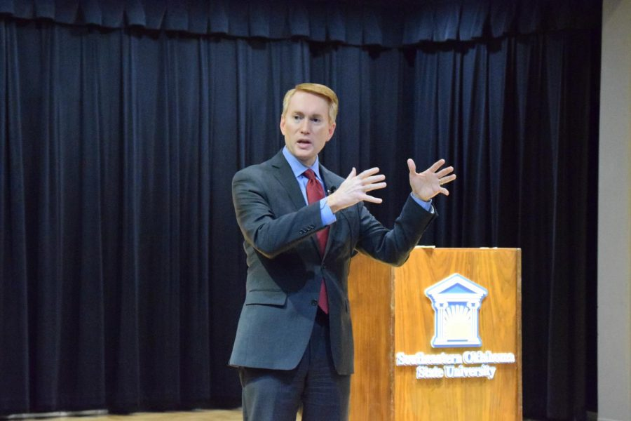 Senator+James+Lankford+speaks+to+Southeastern+students%2C+faculty+and+staff+in+the+Fine+Arts+Recital+Hall+on+February+21.+Lankford+addressed+issues+of+concern+in+the+United+States+Senate.