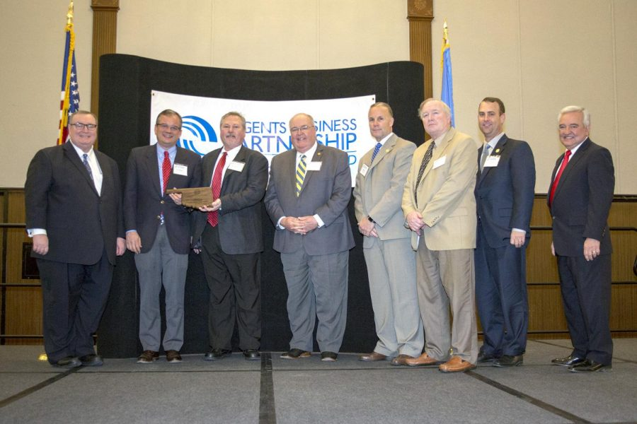 Attending the Partnership Excellence Award presentation were Chancellor Glen D. Johnson, Southeastern president Sean Burrage, BrucePac general manager Bob Delveaux, former Durant Industrial Authority executive director Tommy Kramer, Southeastern athletic director Keith Baxter, Southeastern director of university communications Alan Burton, Southeastern vice president for advancement Dr. Kyle Stafford, and Oklahoma Secretary of State, Education and Workforce Development Dave Lopez.