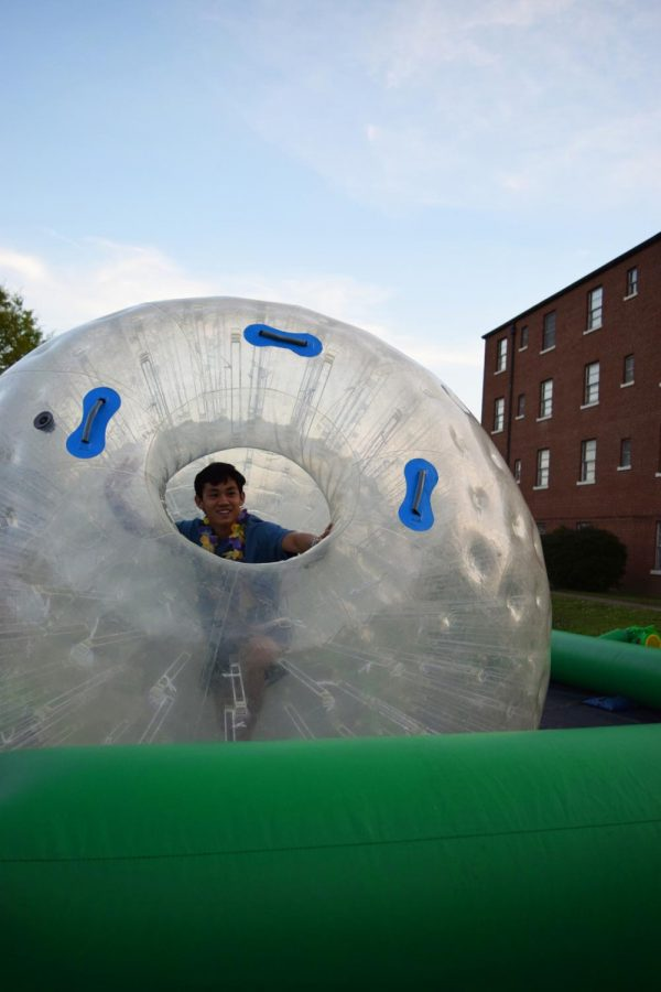 Several inflatable activities were available, including a hamster ball race track.