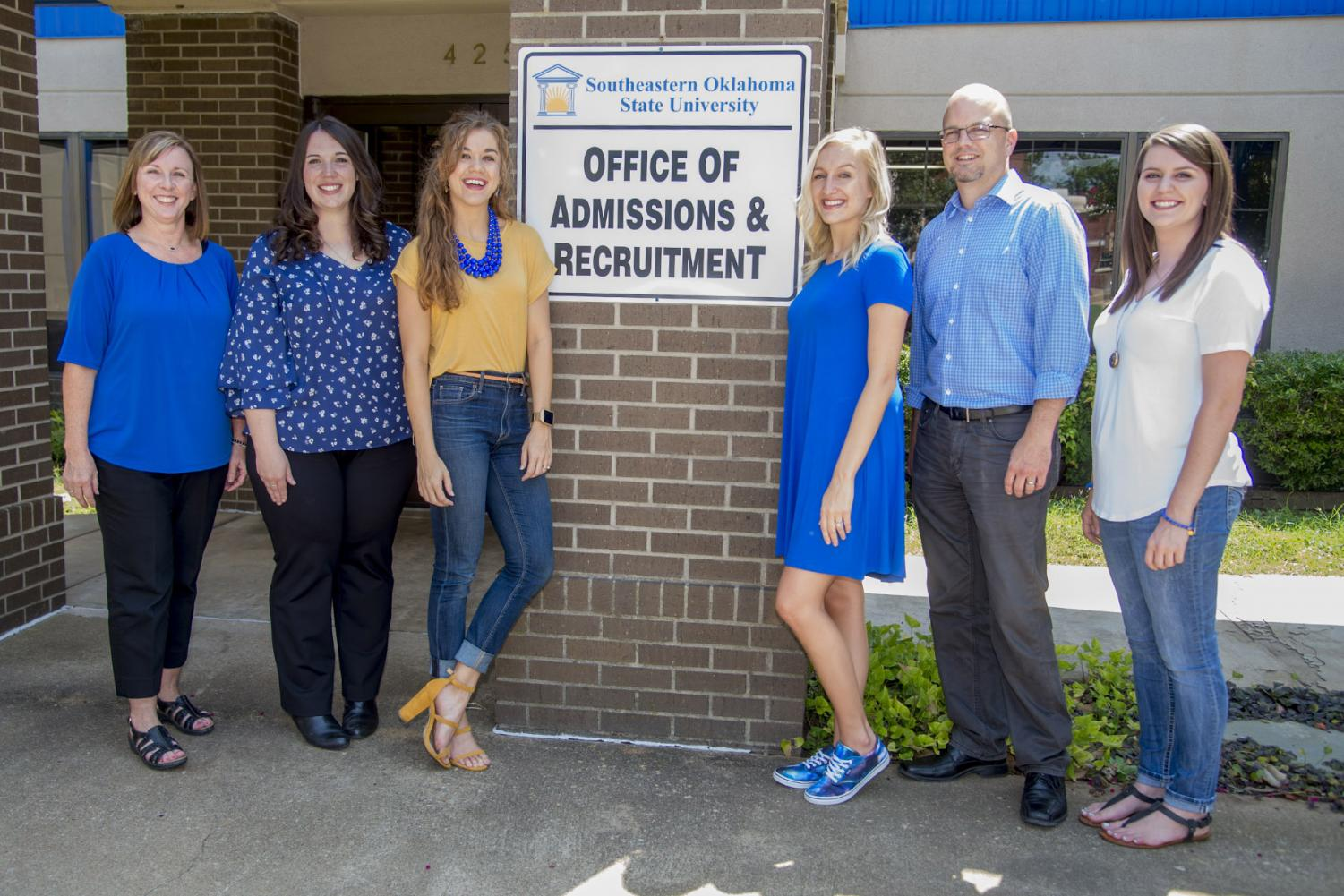Members of the Admissions and Recruitment Office are Tonya Tollett, Megan Cochran, Sheridan Burns, Sarah Hughes, Jeremy Rowland, and Alesha Birks.