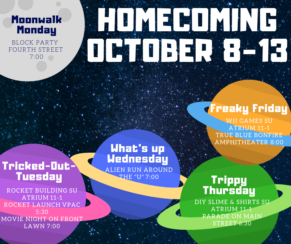There is no excuse to miss out on Homecoming events this year! Stay in the loop with this graphic.