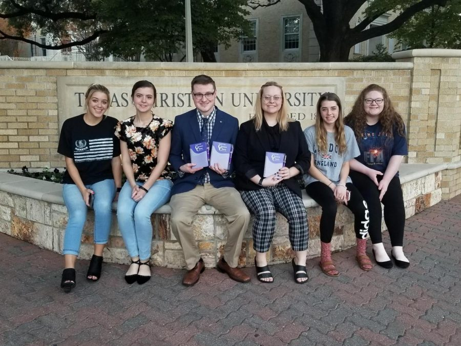 The+Speech+and+Debate+Association+traveled+to+Fort+Worth+Oct.+26-28+for+Cowtown+Classic+Speech+and+Debate+tournament.+Left+to+Right%3A+Emily+Wheeler%2C+Raegan+Benson%2C+Jacob+Morrison%2C+Hannah+Nunley%2C+Jillian+Parsons%2C+and+MacKenzie+Trammell.