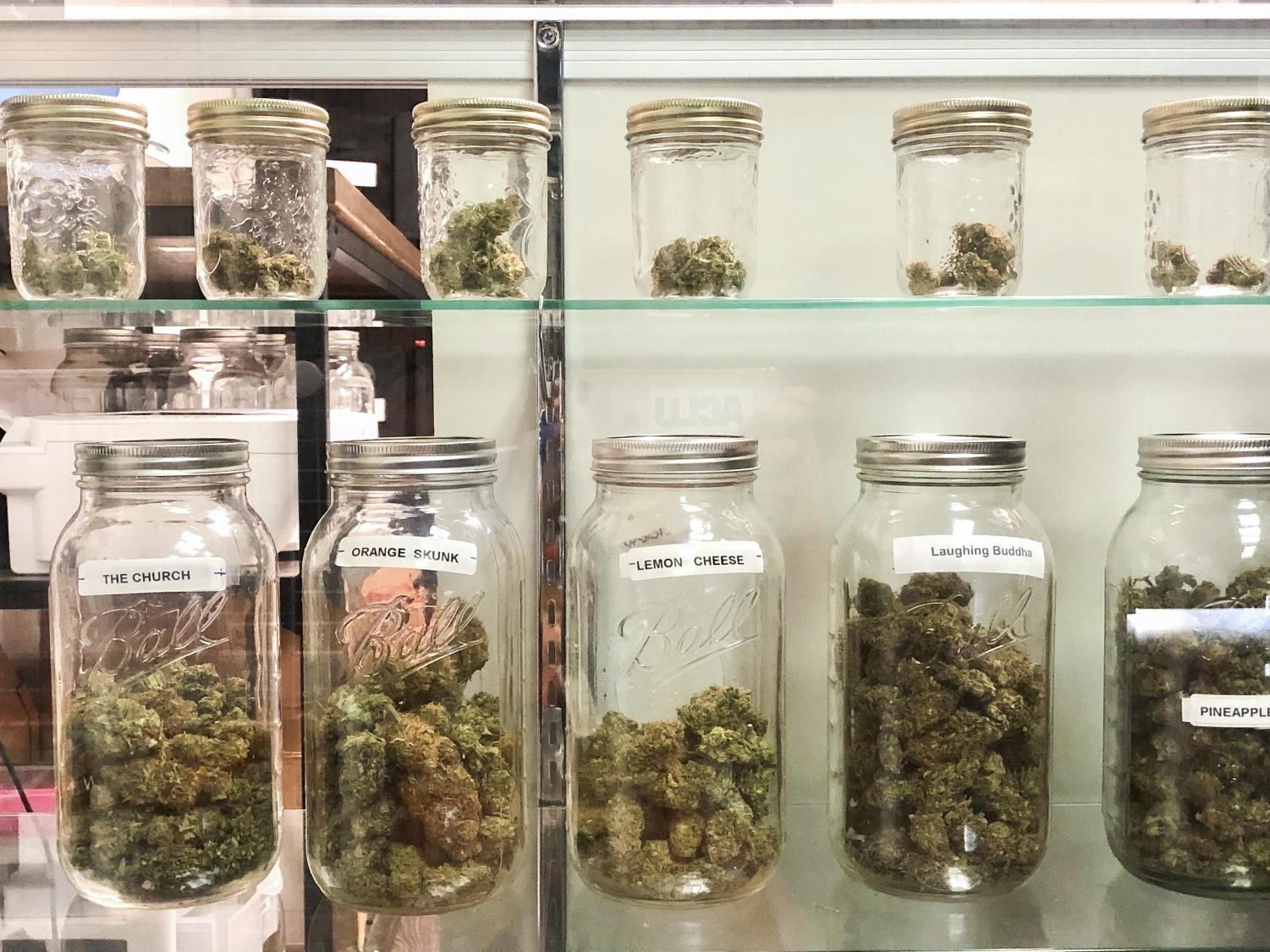 These marijuana buds are located in The Remedy in Durant. Dispensaries showcase their marijuana buds, or