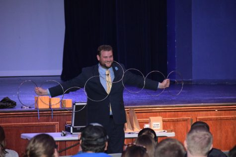 Steven Stone, comedian and magician, performed in the Montgomery Auditorium on August 21 to wind down the 2019 Welcome Week festivities.