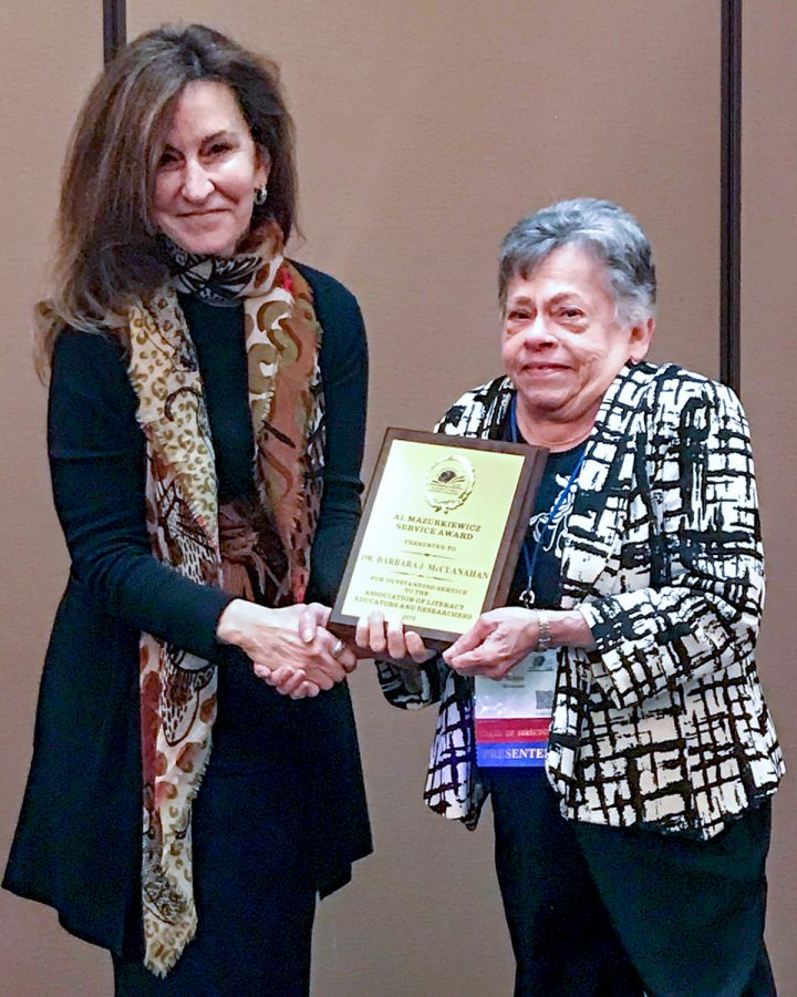 Dr. Barbara McClanahan of Southeastern  receives service award from national literacy organization