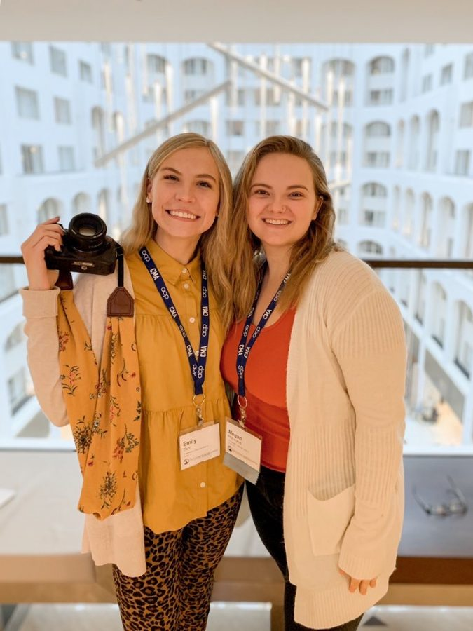 Emily+Dahl%2C+left%2C+and+Megan+McFarland+were+able+to+attend+the+2019+National+Collegiate+Media+Convention+in+Washington%2C+D.C.+from+October+31+to+November+3+with+the+Student+Publications+advisor%2C+Tascha+Bond.