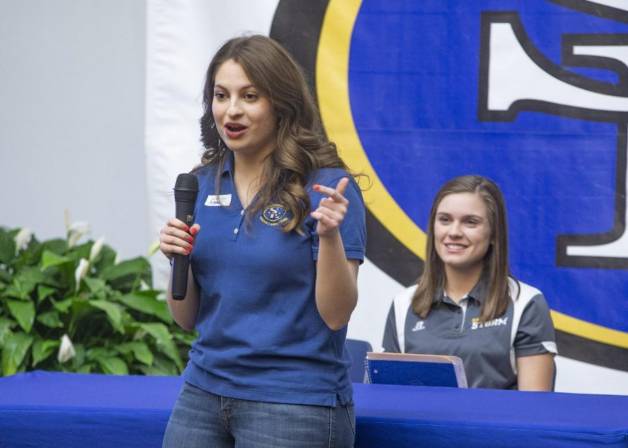 Anna Antuono serves SE in a variety of leadership roles, which often involves speaking to groups of students as she is pictured at an event last year.