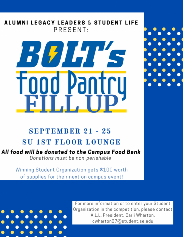 Student organizations will be competing in Bolt's Food Pantry Fill Up to win a $100 voucher for their next campus event.