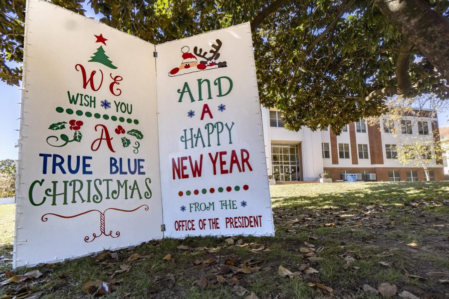 Greetings from the President's Office is displayed on the front lawn of the Administration Building.