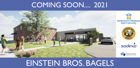 The first sneak peek of the highly anticipated Einstein Bros. Bagels shop which will be located beside the campus bookstore and feature a drive-thru.