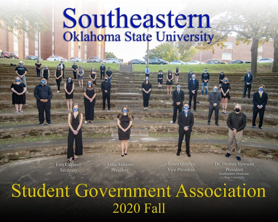 The Fall 2020 Student Government Association stands six feet apart for their organization's group photo.
