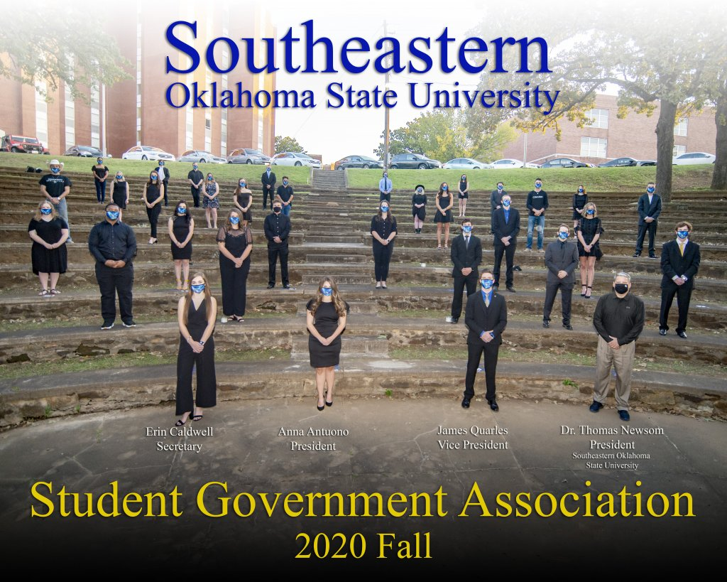 The Fall 2020 Student Government Association stands six feet apart for their organization