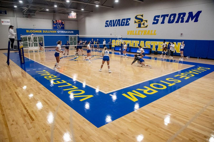 A volleyball match being played in the new facility in Bloomer Sullivan Gymnasium.