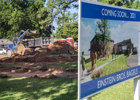 Preliminary construction work has begun on the Einstein Bros. Bagels shop.