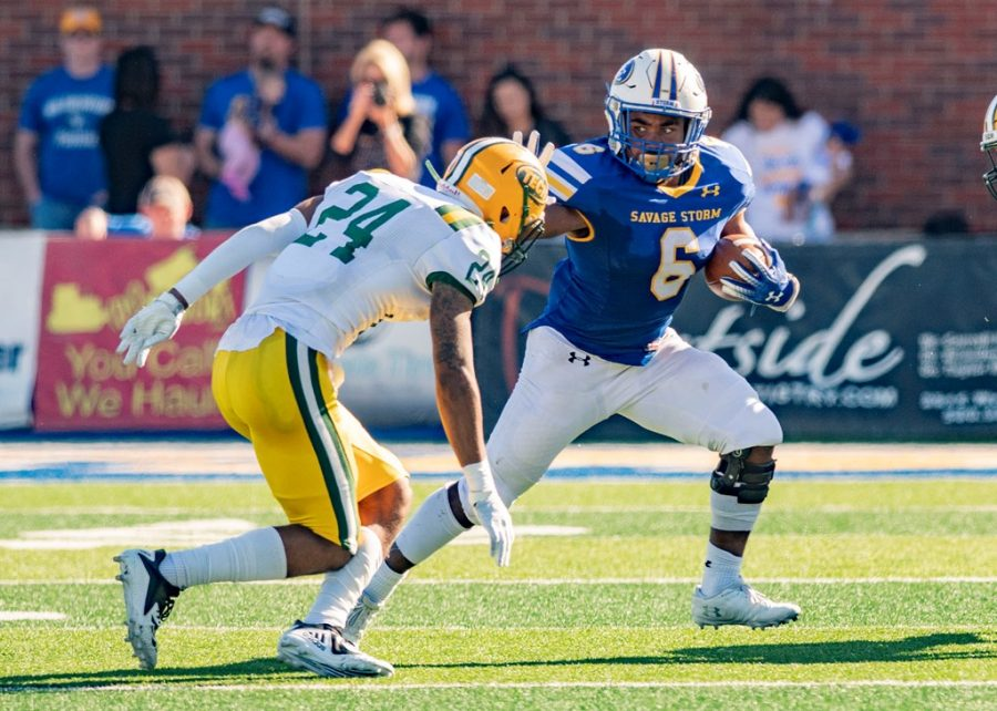 Kenneth Burks, then junior, with the ball during a 2018 game against Arkansas Tech. The Savage Storm will be starting their 2021 season on Sept. 2 by facing off with this same team.