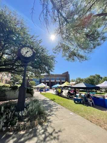 View of the Student/Merchant Fair from in front of the Fine Arts Building.