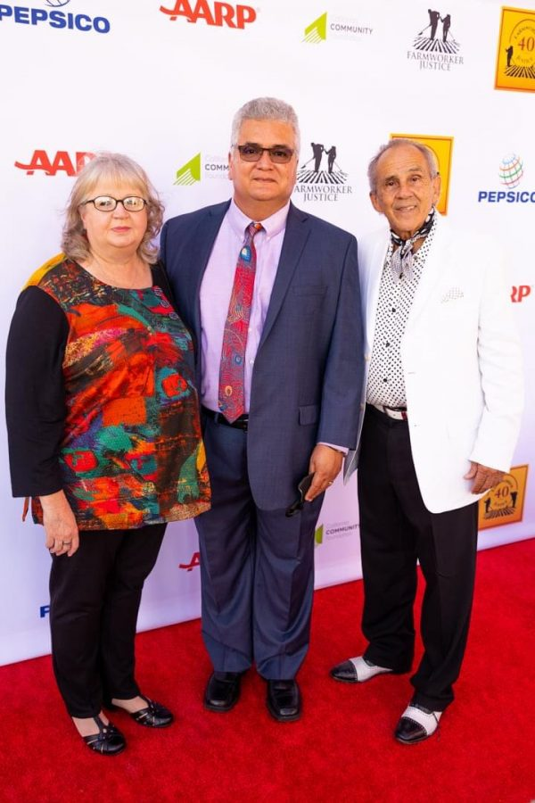 Lewanda Diaz, Dr. Rolando Diaz, and Pepe Serna are pictured on the red carpet at the 40th Anniversary Farm Workers Justice Awards at La Plaza de la Cultura in Los Angeles.