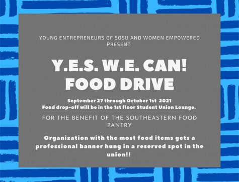 The Y.E.S. W.E. Can food drive will be held for the benefit of the campus food pantry.